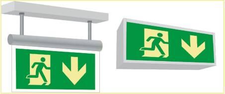Symbole für Notleuchten Leuchtkörper und Wandlampen