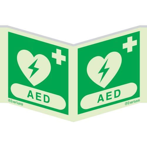 Rettungszeichen Symbole Winkelschild AED