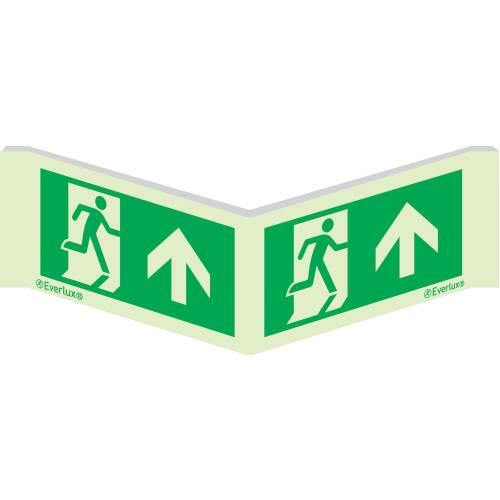 Rettungszeichen Winkelschild Laufrichtung geradeaus ISO 7010